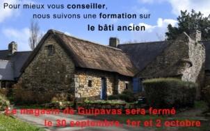 Magasin de Guipavas fermé les 30/09, 1er et 2/10 (formation bâti ancien)